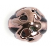Glass Lamp Bead 14x10mm Oval Pink/Copper